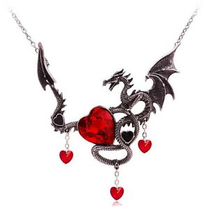 Women-Halloween-Retro-Black-Vampire-Dragon-Red-Heart-Demon-Witch-Punk-Necklace