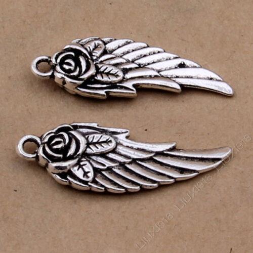 10pc Tibetan Silver Wing Rose flower Pendant Charms Jewellery Accessories PJ36