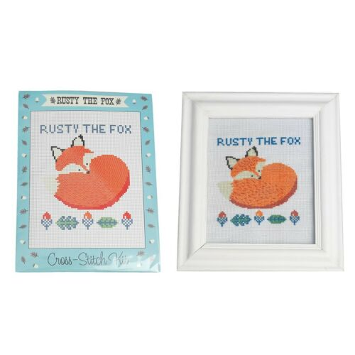 dotcomgiftshop CREATE YOUR OWN RUSTY THE FOX CROSS-STITCH KIT