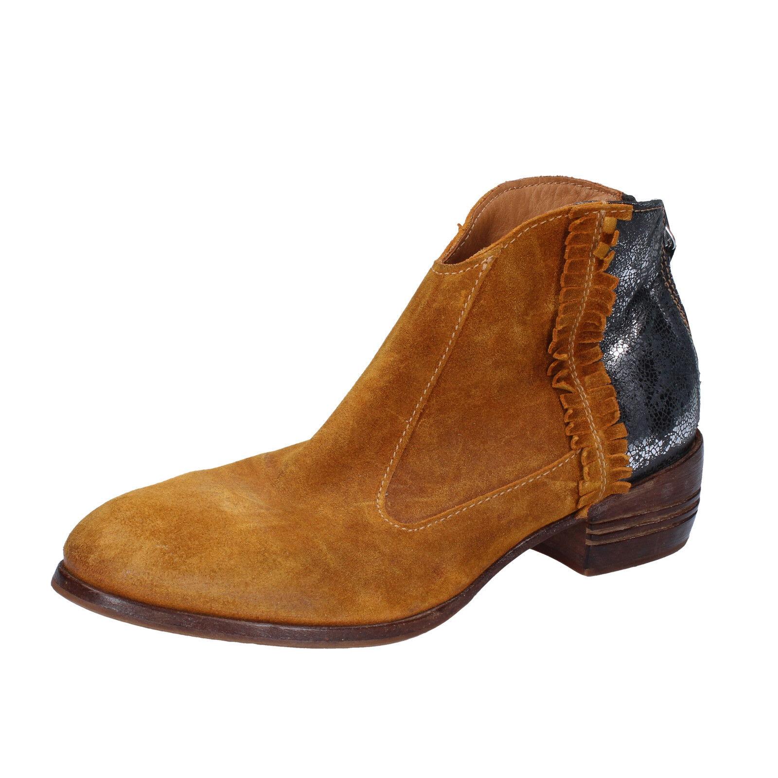 Grandes zapatos con descuento scarpe donna MOMA 37 EU tronchetti giallo argento camoscio pelle BT10-37