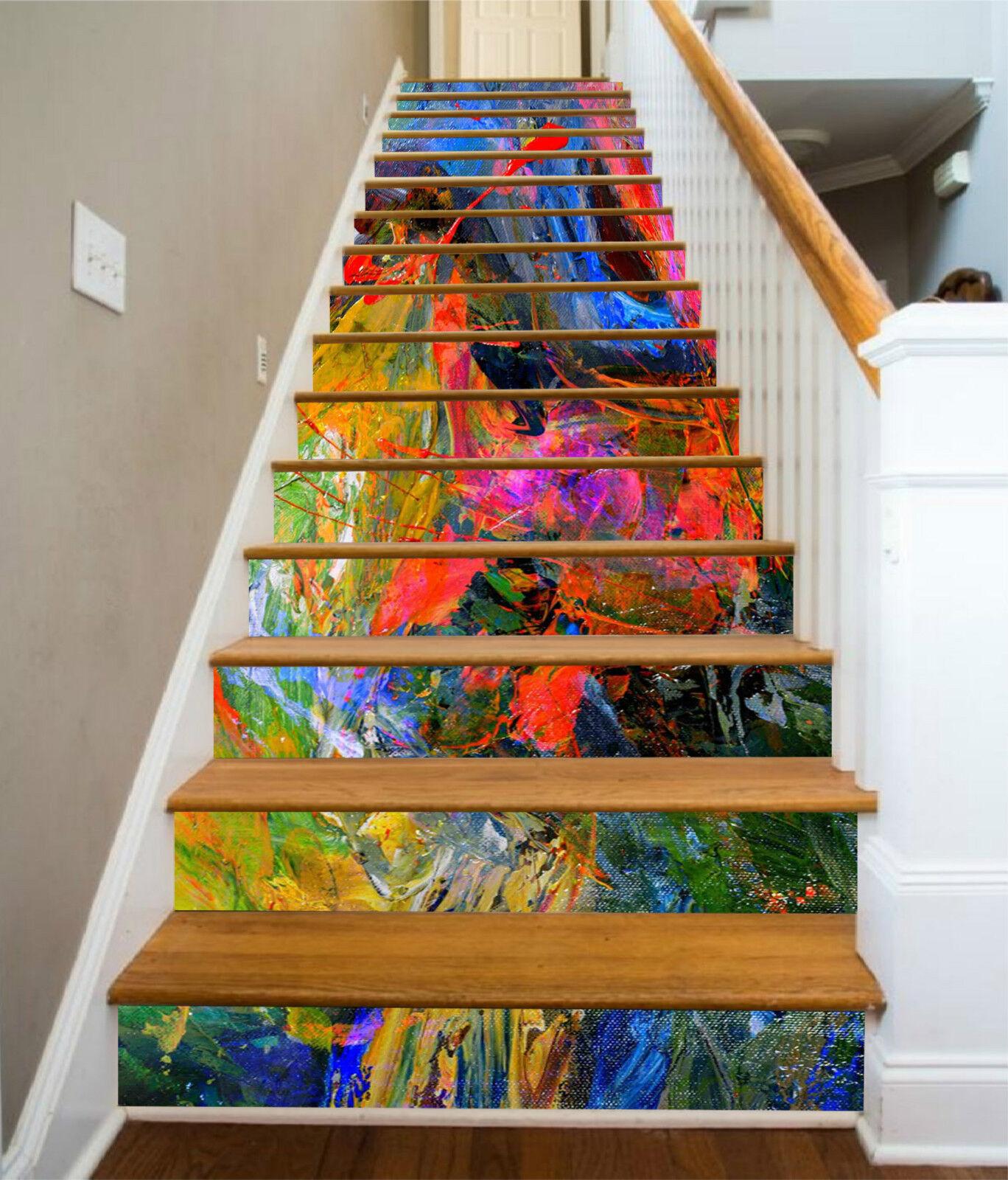 3D Farbe Malerei 21 Stair Risers Dekoration Fototapete Vinyl Aufkleber Tapete DE