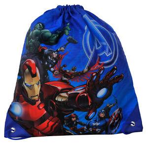 Avengers-Assemble-Shoe-Bag-Drawstring-Swim-Gym-Dance-PE-Sports-Boys-Blue-Marvel