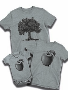 e3d13a3d Apple Never Falls Far Tree Print Mens T-Shirt Dad Son Daughter Baby ...