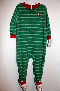 6c9625eab NWT CARTERS BABY GIRL BOY HOLIDAY SANTA FOOTED SLEEPER GREEN RED ...
