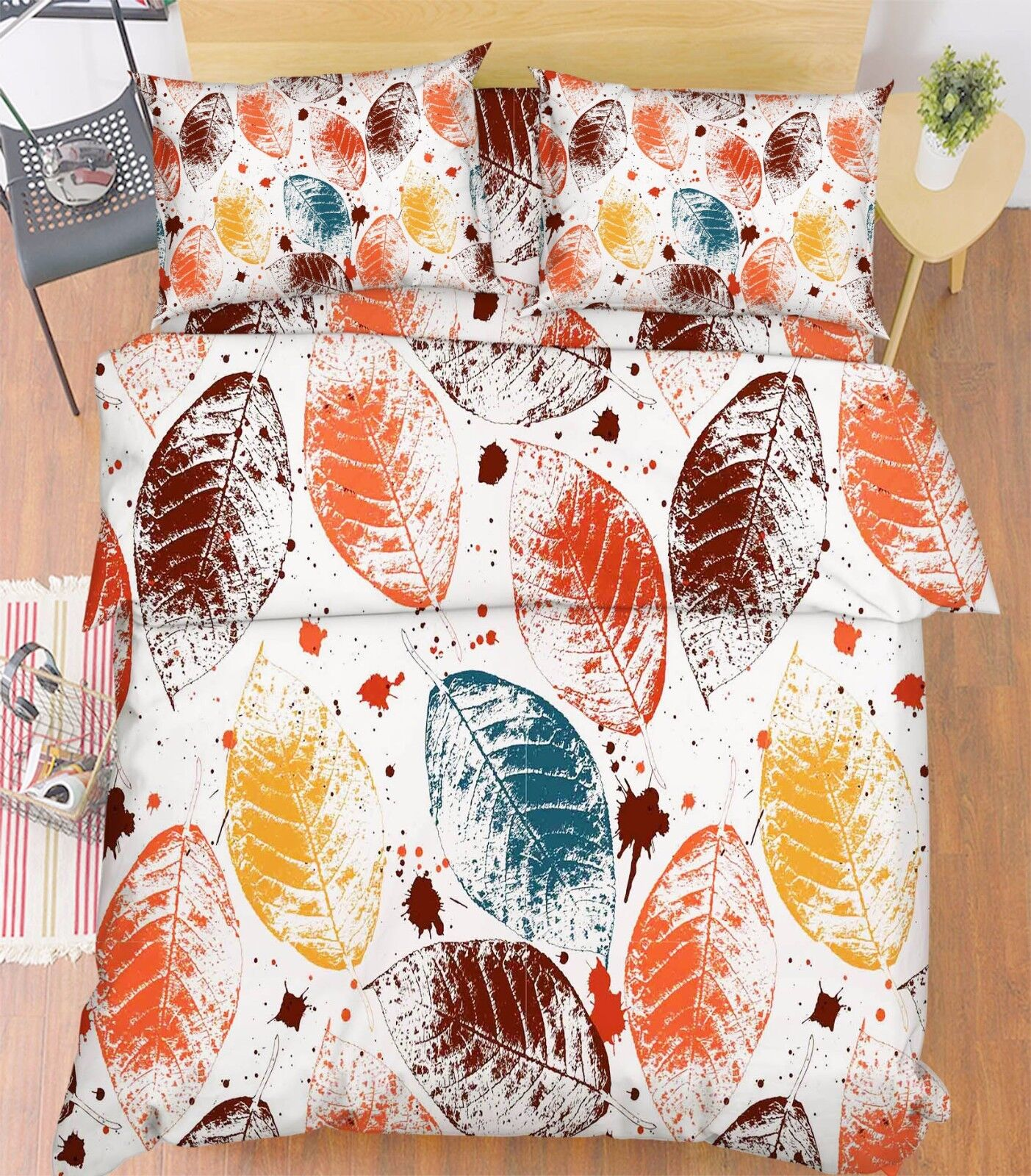 3D Farbe Blätter 59 Bett Kissenbezüge steppen Duvet Decken Set Single DE Carly