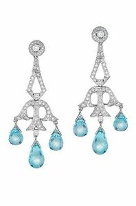 Diamond laced 18k white gold with blue topaz chandelier earrings ebay image is loading diamond laced 18k white gold with blue topaz aloadofball Image collections