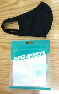 2 Not 1 - Cotton Face Mask Reusable (2pcs black) Two Layer Antiviral Protection
