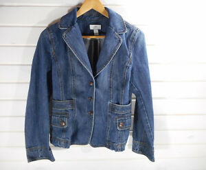 Ann-Taylor-Loft-Women-039-s-Size-8-Denim-Blazer-Blue-Jean-Jacket-100-Cotton-EUC-CL