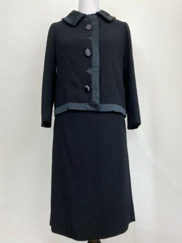 Vintage 1960s Pauline Trigère Suit Trigere Black W