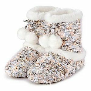 TOTES TOASTIES WOMEN/'S BOBBLE KNIT BOOTIE SLIPPERS MULTI /& GREY SIZES S /& M BNIB