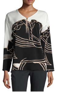 NWT TORY BURCH  TROCADERO  LONG-SLEEVE GRAPHIC KEYHOLE TUNIC BLOUSE  SZ 12