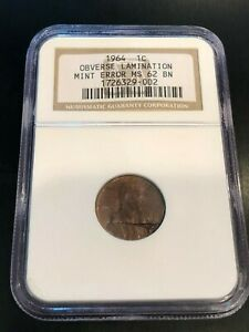 1964-LINCOLN-CENT-PENNY-HUGE-OBVERSE-LAMINATION-MINT-ERROR-COIN-NGC-MS62BN-RARE