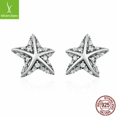 2017 Women's Authentic 925 Sterling Silver Star Tropical Starfish Stud Earrings