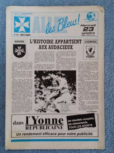 1991 AUXERRE v LIVERPOOL PROGRAMME UEFA CUP 2ND ROUND