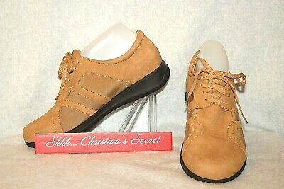 Vg Tireless Softwalk ~ Camel Brown Nubuck Leather Oxford Comfort Shoes Sz 8w Xlnt