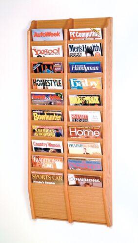 "Wooden Mallet Cascade 20 Pocket Magazine Rack Light Oak 20.5/""x48/""x3.75 MR48-20LO"
