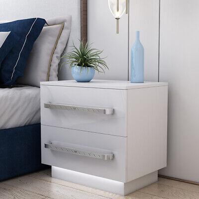 timeless design 66c88 e2070 LED Bedside Table Cabinet In White High Gloss Chest Drawers Bedroom  Furniture UK 714131829446   eBay