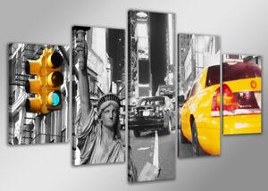 Ordonné Image 5 Pcs New York Yellow Cab Toile 160x80cm Images Xxl Nr 5529neu Visario-afficher Le Titre D'origine