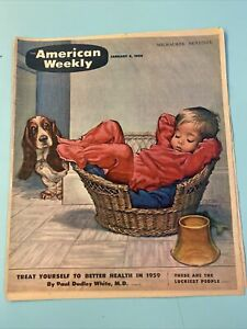 1959 January 4 1959 AMERICAN WEEKLY MAGAZINE Child Basset Hound Cover