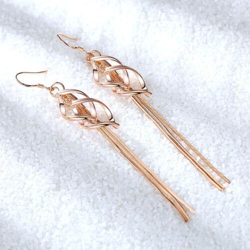 Muye 925 Sterling Silver Tassel Boucles d/'oreilles double twist feuille pour femmes Bijoux