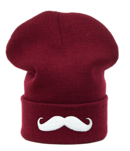Winter Beanie Hat Men Ladies Knitted Woolly Moustache Oversized Slouch Cap