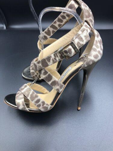 Sandals Shoes Leopard Uk Jimmy Eu 6 Glitter Strappy 'xenia' 39 Heels Choo Gold 8nqYBw