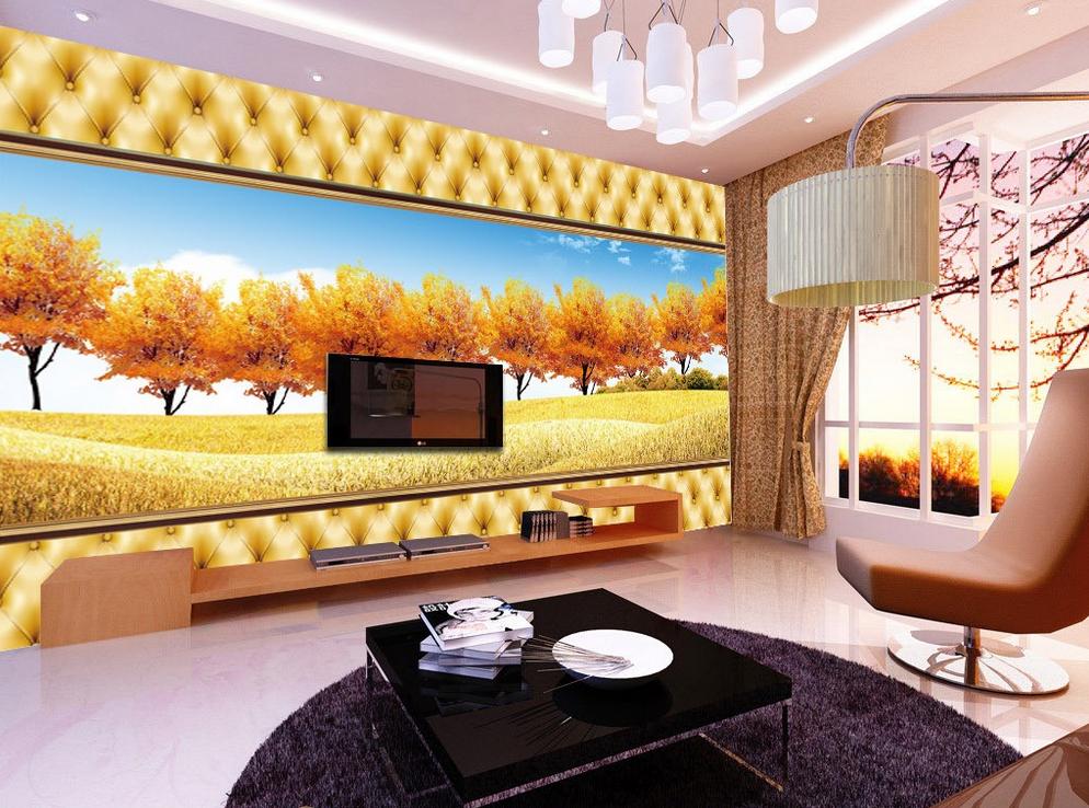 3D Golden Trees 545 Wallpaper Murals Wall Print Wallpaper Mural AJ WALL AU Lemon