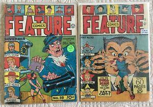Golden-Age-FEATURE-Comics-Lot-2-38-FA-GD-1941-110-GD-1947-DOLL-MAN