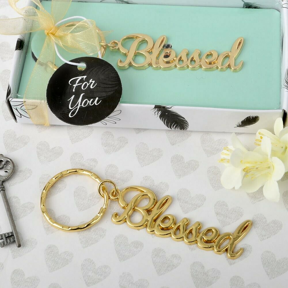 40 Blessed Key chain Christening Baptism Shower Religious Wedding Party Favors