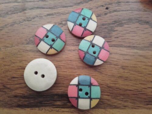 30 Botones Madera Color 20mm comprobado Rejilla cuadrada