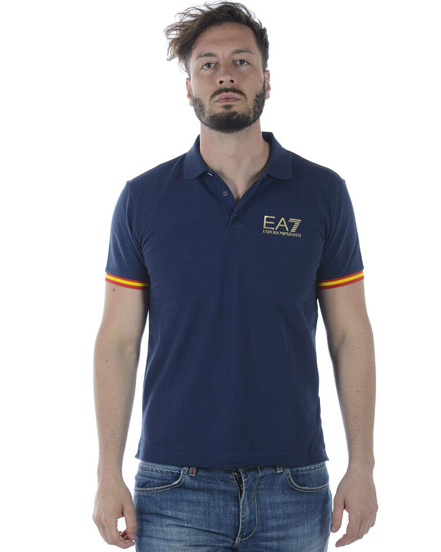 Emporio Armani EA7 Polo Shirt Cotton Man bluee 3ZPFA3PJ04Z 1554 Sz M MAKE OFFER