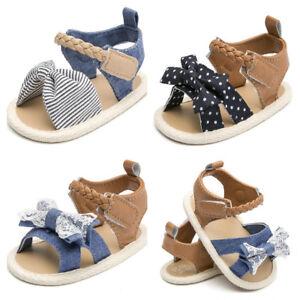 8c343d4f2c25d Details about Newborn Baby Girls Crib Shoes Infant Soft Sole Summer Sandals  3 6 9 12 18 Months