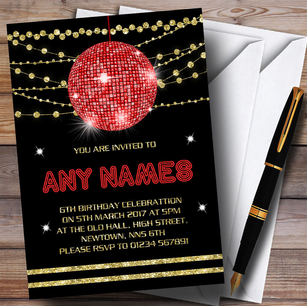 Boule Disco Disco Boule or rouge Invitations Childrens Birthday Party Invitations fec5fe