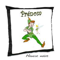 Coussin Noir Peter Pan V2 Avec Le Prénom De Votre Choix