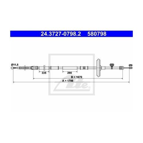 ATE 24.3727-0798.2 Seilzug Feststellbremse   für Opel Astra J Astra GTC J