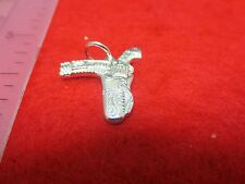STERLING SILVER PLATED  WESTERN GUN WITH HOLSTER CHARM PENDANT - SA30
