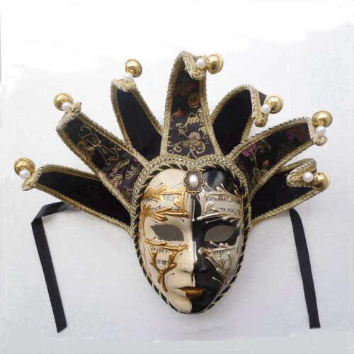 Volto Resin Music Jester Venetian Masquerade Decorative Wall Mask Mardi Gras Men