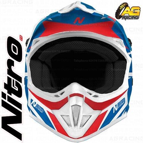 Nitro 2019 Adult Helmet MX 620 Podium Blue Red White Motocross Enduro Quad ATV