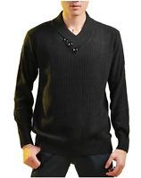Men's Casual Jumper Wool Sweater Chunky Shawl Collar Knitwear Pullover Rrp£90 Xl