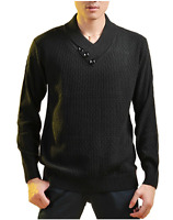 Men's Casual Jumper Wool Sweater Chunky Shawl Collar Knitwear Pullover Rrp£90 Xl