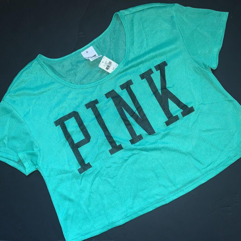 Nwt Victoria's Secret Rose S Court T-shirt Chemise T-shirt Vert Sarcelle Noir