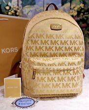 NWT MICHAEL Kors Jet Set MK Monogram LARGE Backpack Jacquard BG/CAMEL/LUGG $298