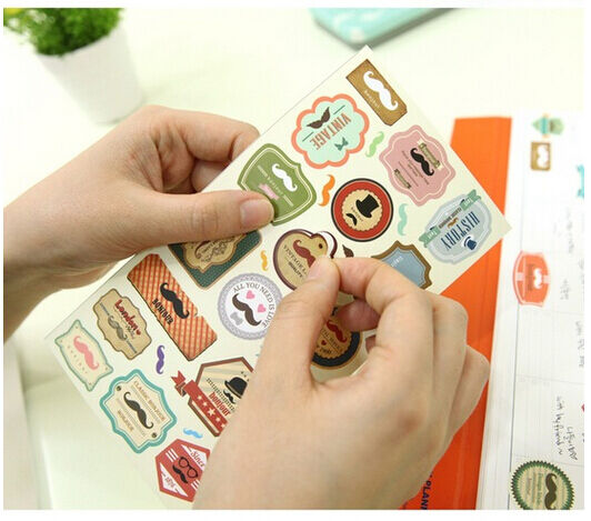 4 sheet Mustache Paper Craft deco diary calendar albums envelope sealed stickers