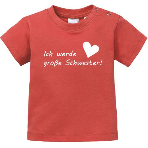 """Spruch /""""Ich werde große Schwester/"""" Herz 100/% BIO Baumwolle Baby T-Shirt"""