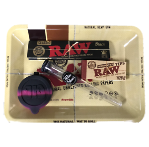 Raw Mini Rolling Tray Set 1x Raw Black Rolling Paper Amp J