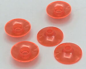 Lego 5 New Trans-Neon Orange Plates Round 2 x 2 with Rounded Bottom Boat Pieces