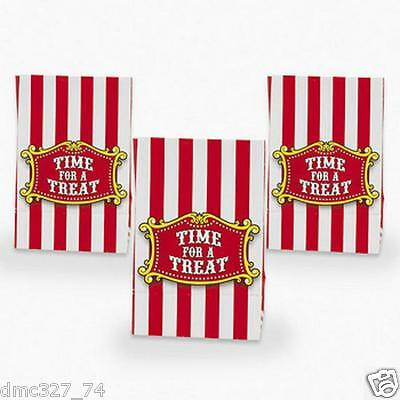 12 CARNIVAL Big Top Tent CIRCUS Birthday Party Favor Treat Loot Goody PAPER BAGS