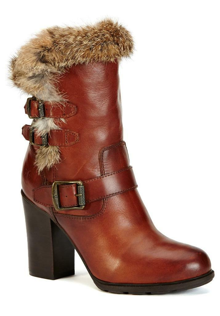 New in Box - $498 FRYE Penny Redwood Rabbit Fur/Leather Boots Women's Size 6.5
