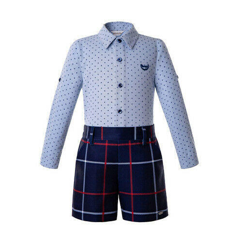 Boys Gentleman 2Pcs Outfit Formal Shirt Tartan Plaid Short Pants Wedding School
