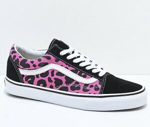Vans Old Skool Pink & Black Leopard Print Skate Shoes Pink, Mens Skate Shoes Mens, Skate Shoes